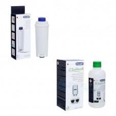 Zestaw : Filtr DeLonghi DLS C002 (SER3017) + Odkamieniacz DeLonghi Eco Decalk DLSC500 500ml