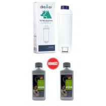Zestaw do ekspresów DeLonghi: filtr zamiennik + odkamieniacz zamiennik