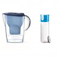 Zestaw: Dzbanek Brita Marella XL 3,5L niebieski + Butelka filtrująca Brita Fill&Go 600ml niebieska | DARMOWA DOSTAWA